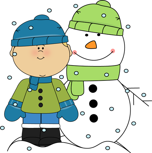 Boy and Snowman in the Snow