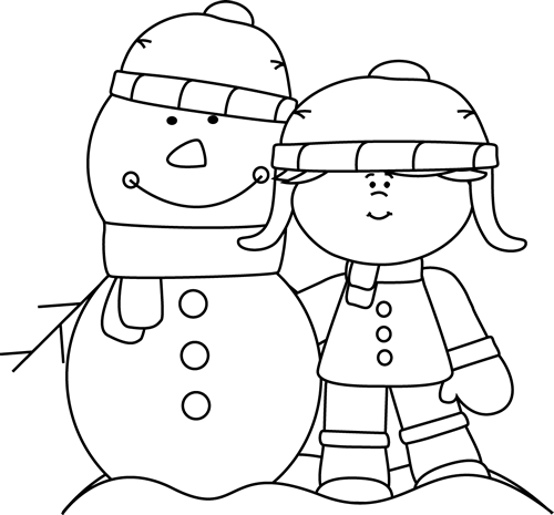 Black and White Girl with Snowman