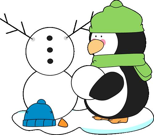 Penguin Building a Snowman