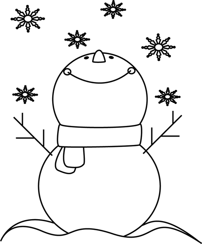 Black and White Snowman Catching Snowflakes