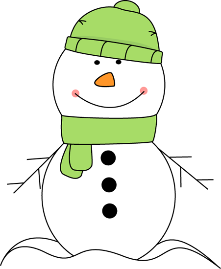 Snowman Wearing Green Scarf and Hat