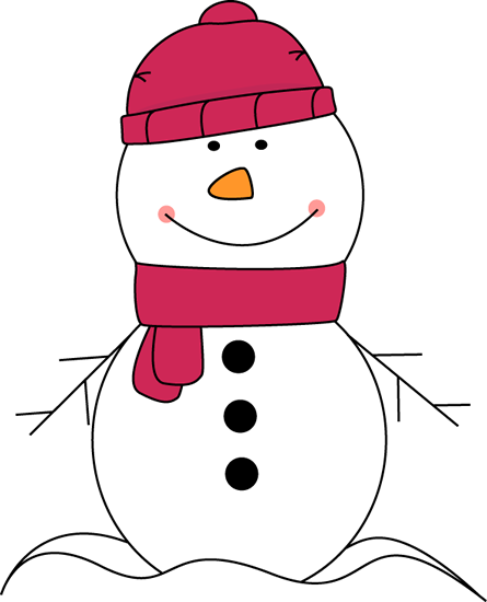 Snowman Wearing Pink Scarf and Hat