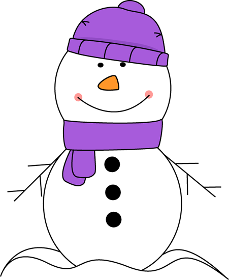 Snowman Wearing Purple Scarf and Hat