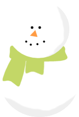 Snowman wearing a Green Scarf