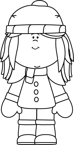 Black and White Winter Girl Clip Art - Black and White ...